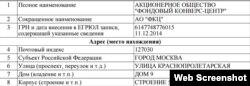 Скриншот из российского реестра юрлиц России