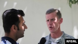 U.S. General Stanley McChrystal speaks with RFE/RL today in Kabul.