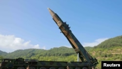 A picture, provided by North Korea's Korean Central News Agency, shows the missile Pyongyang tested on July 4.
