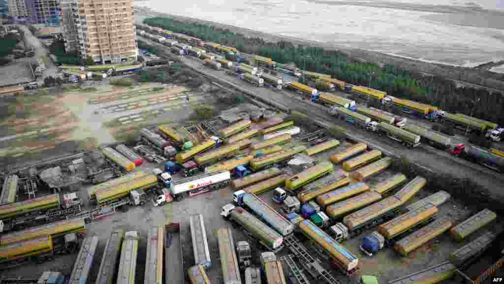 NATO supply tankers gathered near oil terminals in the Pakistani port city of Karachi in 2011.