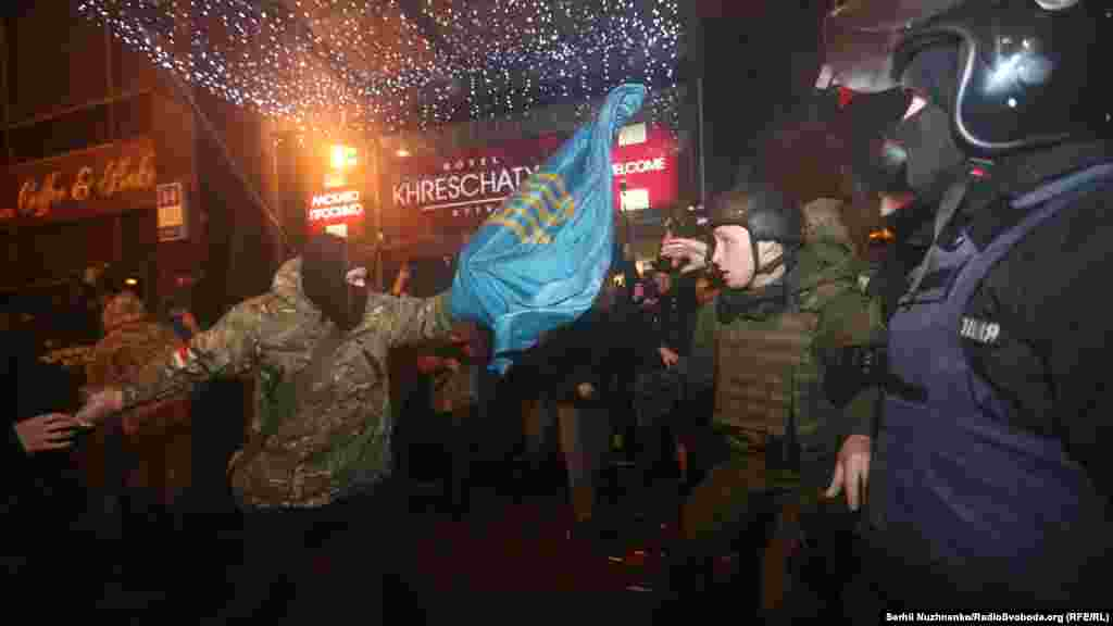 The protest began in support of blockades of rail links to areas of Ukraine which are controlled by Russia-backed separatists.