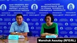 Адвокат Галым Нурпеисов и правозащитник Бахытжан Торегожина. Алматы, 20 августа 2019 года.