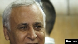 Former President Moshe Katsav outside a Tel Aviv court after he was convicted in December
