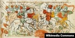 Битва Ярослава со Святополком на реке Альте в 1019 году. Миниатюра Радзивилловской летописи, 15 век