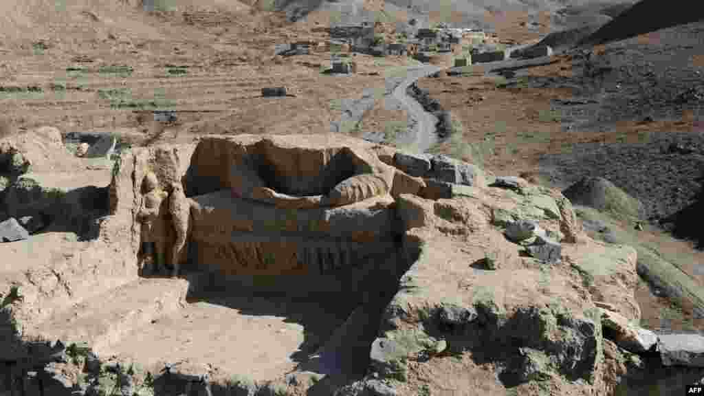 Buddha statues discovered inside an ancient monastery at Mes Aynak