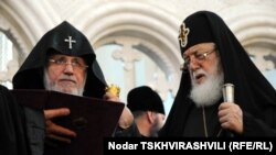 Catholicos of All Armenians Garegin II (left) and Catholicos Patriarch of All Georgia Ilia II