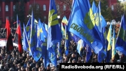 Liberty Union supporters demand recognition of the Ukrainian Insurgent Army.