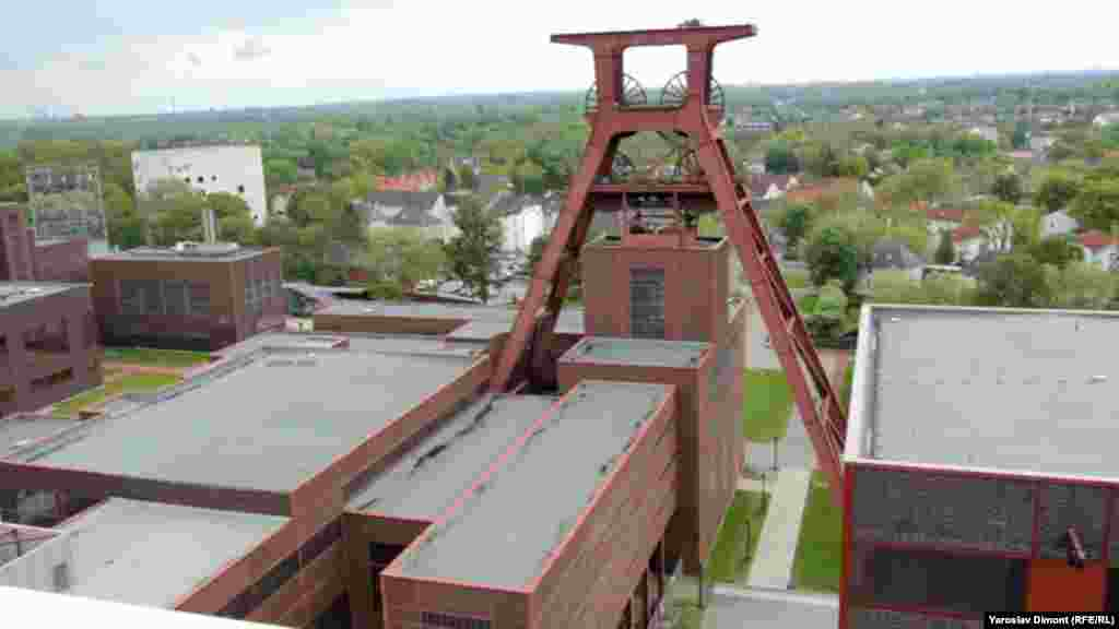 A view of Shaft 12 at the Zollverein Coal Mine Industrial Complex in Germany's western Ruhr region, an iconic example of Bauhaus design