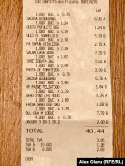 Bon de cumpărături în valoare de 40 de lei și 44 de bani.