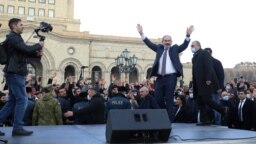 Armenian Prime Minister Nikol Pashinian speaks to supporters on Yerevan's Republic Square on February 25.