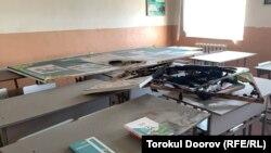 Школа в Баткенской области, пострадавшая в ходе конфликта на границе.