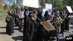 Afghan women protest in Herat on September 2.