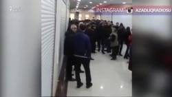 """""""Karvan"""" Ticarət Mərkəzində çalışanlar etiraz edir"""