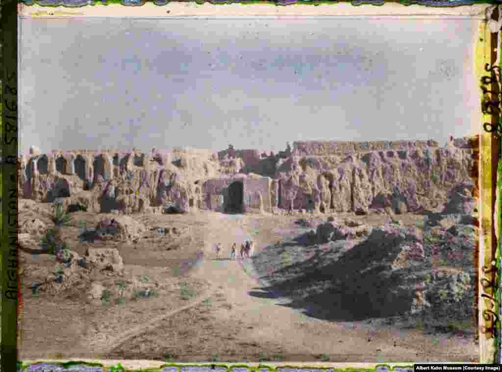 Explorers at the Farah Citadel, in western Afghanistan. The citadel is still standing today.
