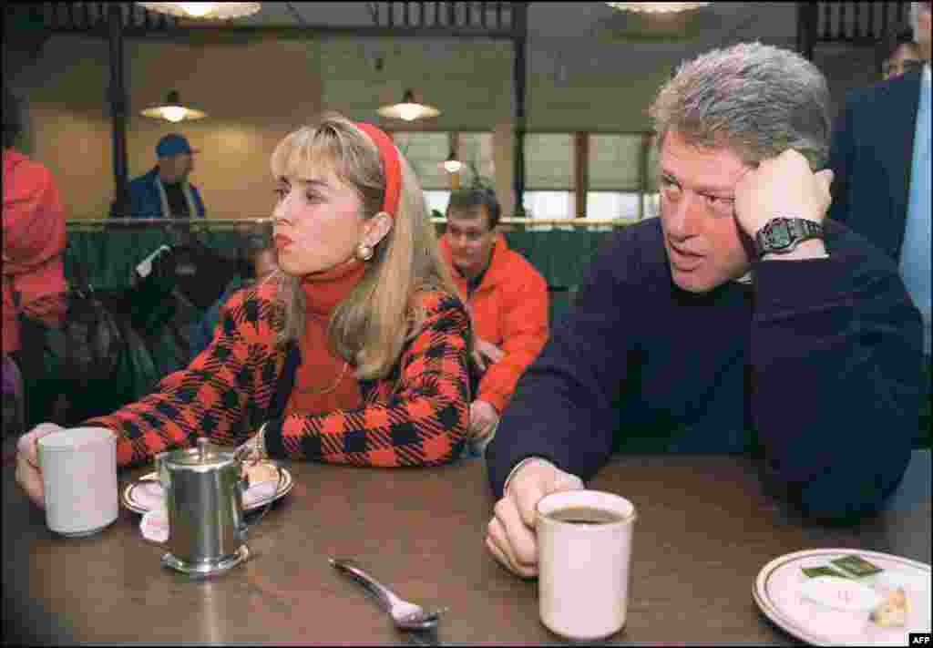 Hillary and Bill Clinton, then governor of Arkansas, take a break during Bill's presidential campaign tour in February 1992. Bill Clinton was inaugurated as president in January 1993.