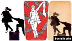 چندین تصویر، کارتون و طرح گرافیکی و خطی از لحظه برخورد پلیس و دختر معترض در شبکههای اجتماعی منتشر شدهاست