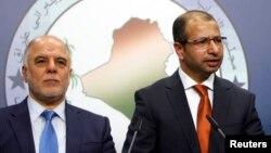Yragyň premýer-ministri Haýdar al-Abadi (çepde) we parlamentiň spikeri, ýagny başlygy Salim al-Jabouri.