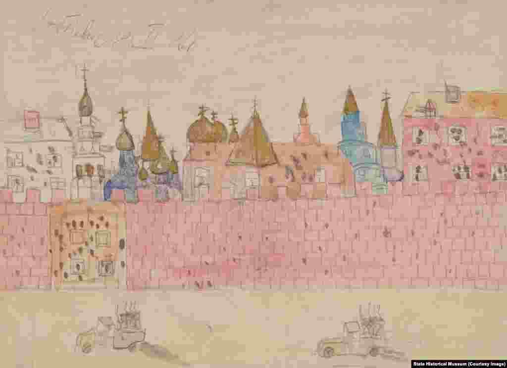 """Детские рисунки помогут более точнопонять настроения того времени, осознать масштабы раскола в сознании общества и увидеть новые явления в повседневной жизни: митинги, многочисленный очереди в магазины, повсеместное присутствие военных. Добкевич. """"Обстрел Кремля""""."""