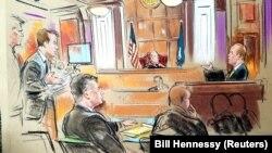 Замальовка із засідання суду над Полом Манафртом (ліворуч попереду)
