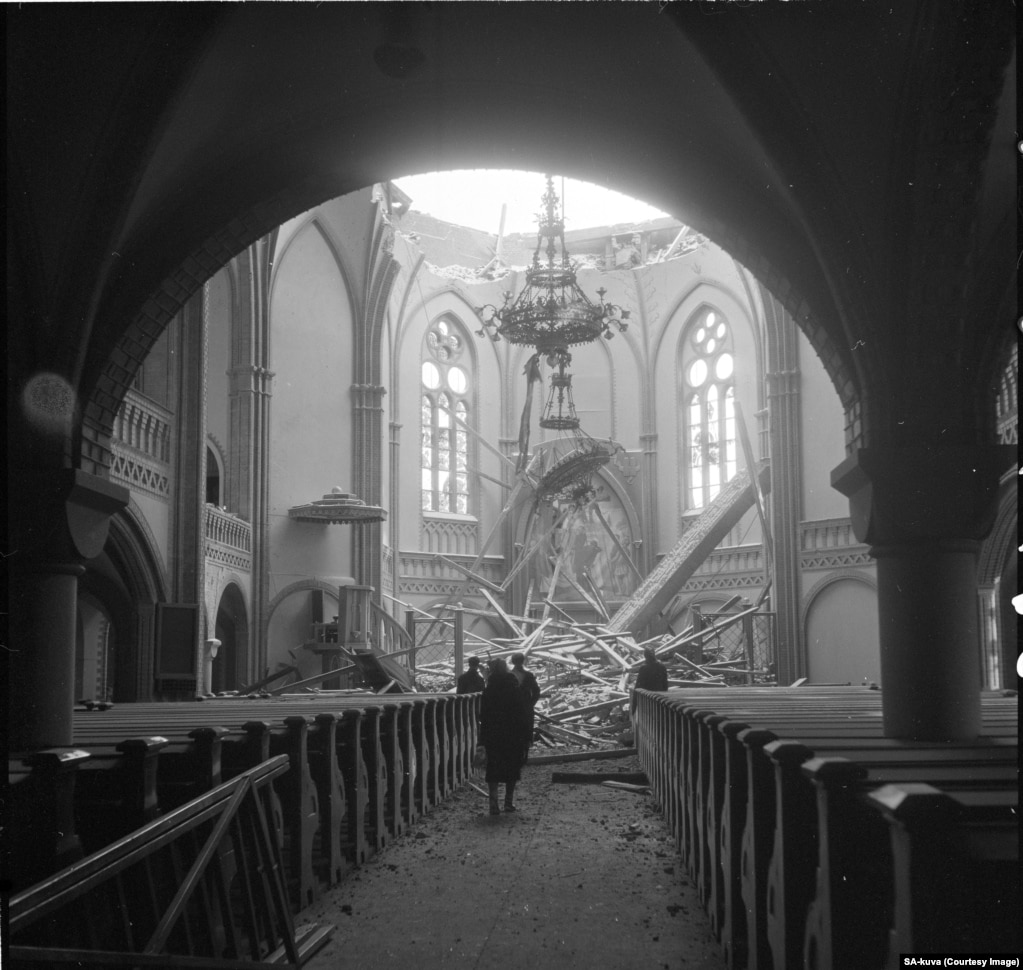 The cathedral in Vyborg, a city that lay between the U.S.S.R. and Helsinki, shattered during a Soviet air raid.