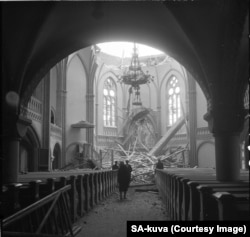 Catedrala din Vyborg după un raid sovietic