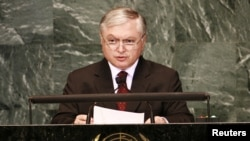 U.S. -- Armenia's Foreign Minister Edward Nalbandian speaks during the Millennium Development Goals Summit at U.N. headquarters in New York, 21Sep2010