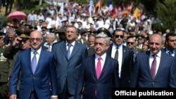 Nagorno-Karabakh - Armenian President Serzh Sarkisian marks the 23rd anniversary of Karabakh's declaration of independence from Azerbaijan in Stepanakert, 2Sep2014.