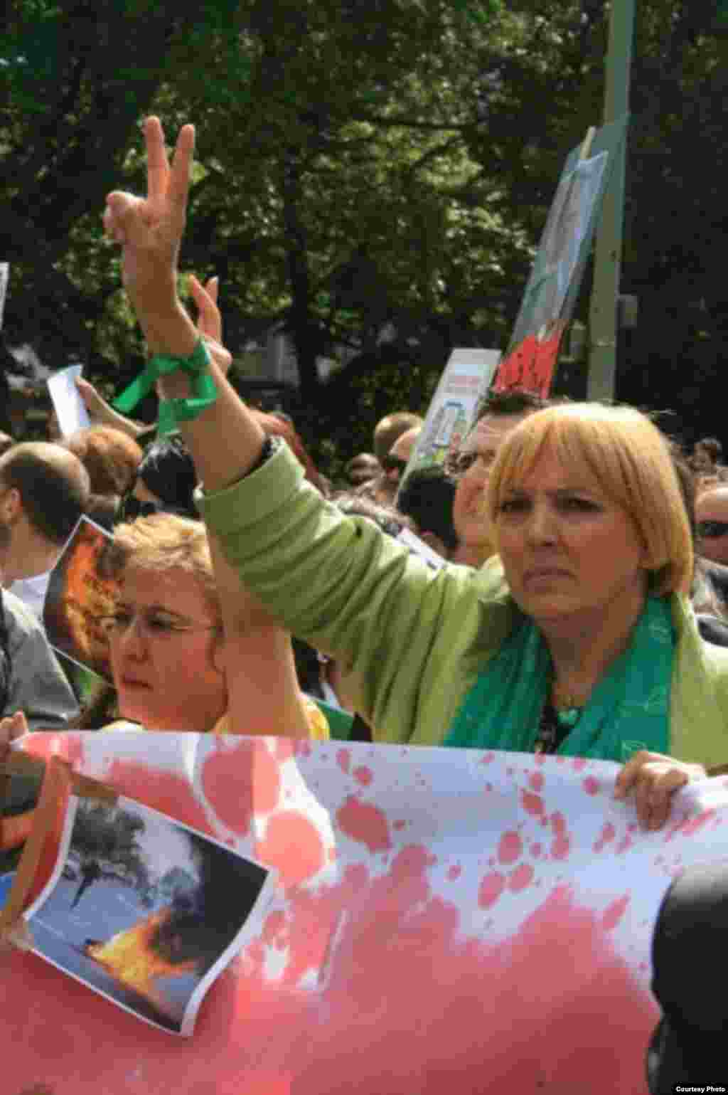 Claudia Roth, a leader of Germany's Green Party, attends one of the summer street protests organized by the Network.