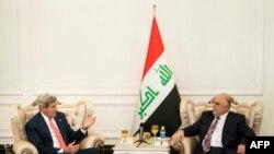 حيدر العبادي وجون كيري في بغداد في 10 ايلول 2014