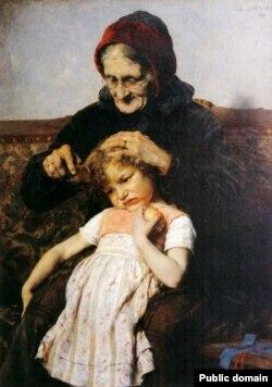 Георгіёс Якавідзіс, «Расчэсваньне ўнучкі» (1886)