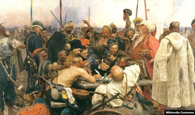 Картина Іллі Рєпіна (Ріпина) «Запорожці пишуть листа турецькому султану» (1880–1891). Цей варіант цього твору нині зберігається в Росії