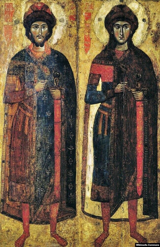 Ікона «Борис і Гліб» (середина XIII століття) в Національному музеї «Київська картинна галерея»