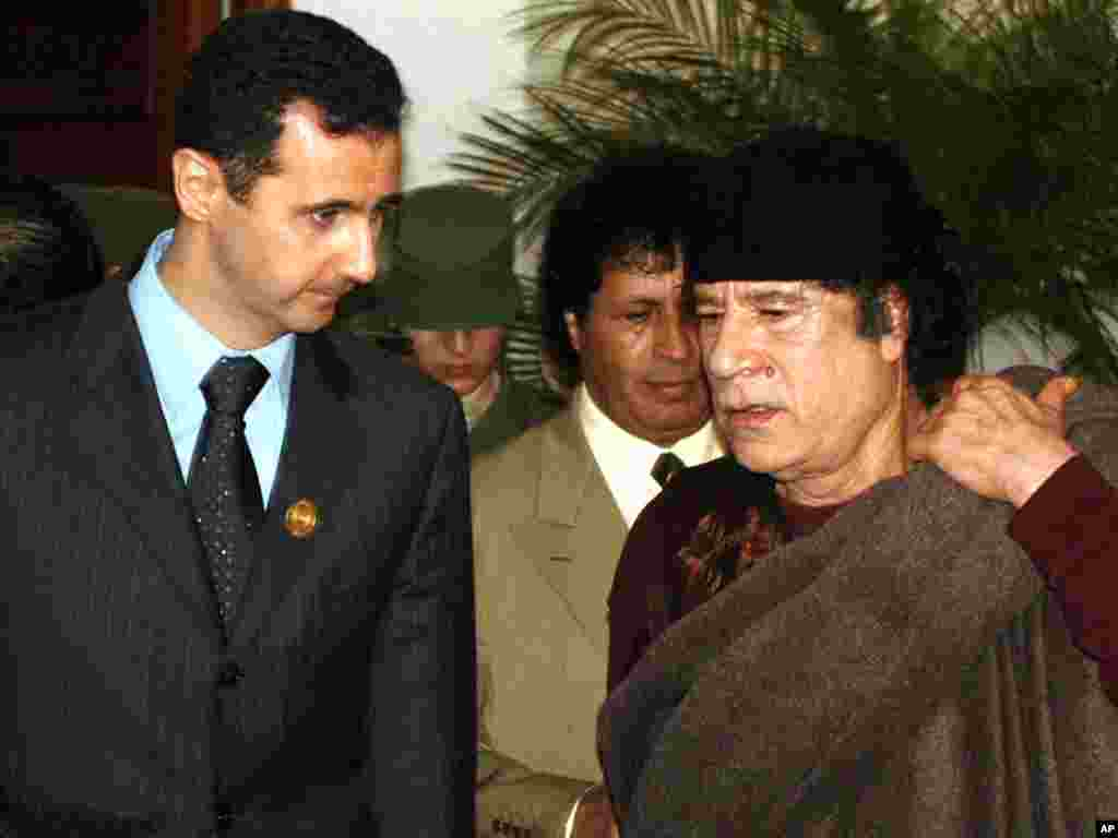 دیدار معمر قذافی و بشار اسد- الجزیره، فروردین ماه ۱۳۸۴