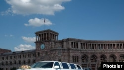 Armenia - A wedding motorcade in Yerevan's main Republic Square.