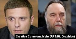 Polish politician Mateusz Piskorski (left) and Russian far-right activist Aleksandr Dugin (file photo)