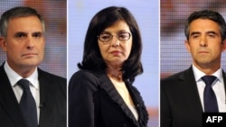 The three main candidates in Bulgaria's presidential race (from left to right): Ivaylo Kalfin, Meglena Kuneva, and Rosen Plevneliev