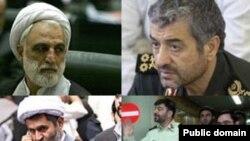 Among those sanctioned are (clockwise from upper left): Qolam-Hossein Mohseni-Ejei, Mohammed Ali Jafari, Saeed Mortazavi (r), Ahmad-Reza Radan (l), and Hosseijn Taeb.