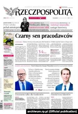 Перша шпальта газети Rzeczpospolita з провідною статтею «Чорний сон працедавців»