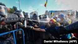 Столкновения с полицией в Бухаресте, 10 августа 2018 года.