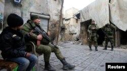 Сирияның Алеппо қаласында жүрген ресейлік әскерилер. 31 қаңтар 2017 жыл.