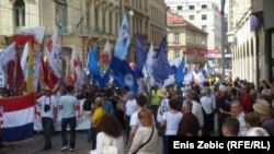 Sindikati dolaze na Trg bana Jelačića, 1. svibanj 2013.