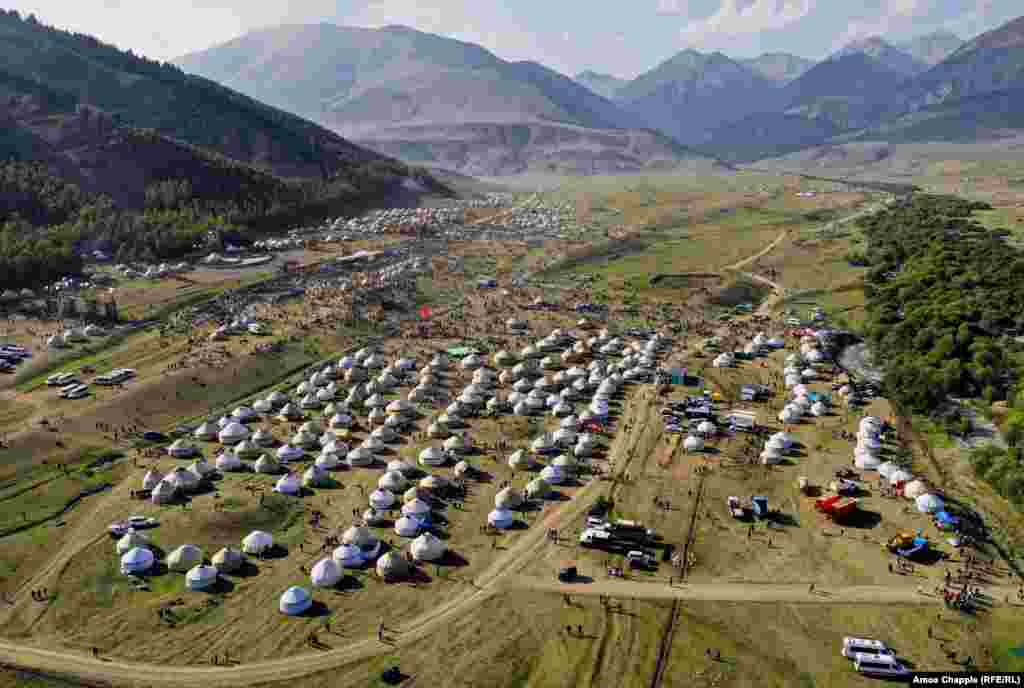 The yurt city nestled in the bowl-shaped valley of Kyrchyn Gorge, the second, and most spectacular, venue of the 2018 Nomad Games.
