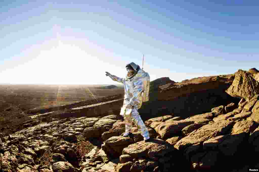 A scientist wears an Aouda X Mars spacesuit simulator in the desert of Morocco. (Reuters/OeWF/Katja Zanella-Kux)