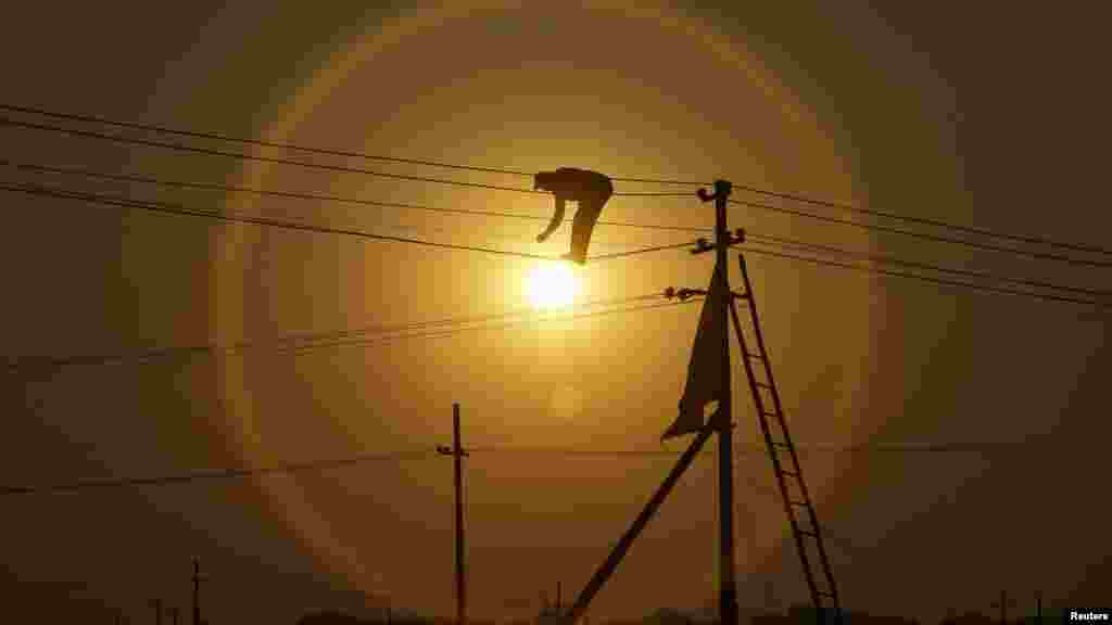 Work is done on newly installed overhead power cables ahead of the Kumbh Mela (Pitcher Festival) as the sun sets in the northern Indian city of Allahabad. (Reuters/Jitendra Prakash)