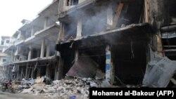 Разрушения в районе Джишр-эль-Шугур, в провинции Идлиб, после сообщения о российском воздушном ударе. 25 сентября 2017 года.