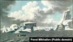 Русские исследователи охотятся на пингвинов, начало 1820 года. Мясо этих животных они употребляли в пищу.