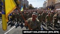 Під час Маршу ветеранів війни у День Незалежності України. Київ, 24 серпня 2019 року