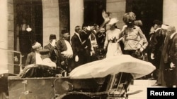 Archduke Franz Ferdinand and his wife, Sophie, leave Sarajevo City Hall on June 28, 1914, shortly before they were killed (picture provided by JU Sarajevo Museum).