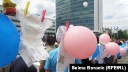 Sa protesta ispred Parlamenta BiH zbog matičnog broja