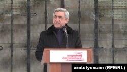 Serzh Sarkisian speaks at a rally in the Kotayk region in January.